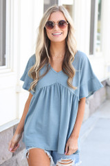Blue - cute oversized babydoll top