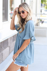 side view ruffle sleeve babydoll top in blue