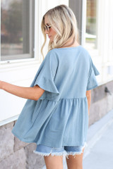 back view cute babydoll top in blue