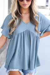 close up cute babydoll top in blue