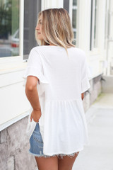 back view ruffle sleeve babydoll top in white