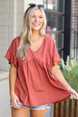 Rust - cute babydoll top from shopdressup