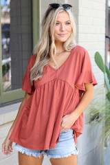 Rust - cute babydoll top