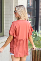Ruffle Sleeve Babydoll Top in Rust Back View