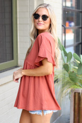 Ruffle Sleeve Babydoll Top in Rust Side View