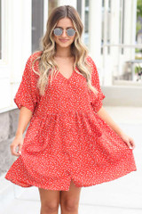 Red - cute oversized button front babydoll dress