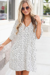 White - button front babydoll dress