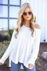 White - oversized soft knit top