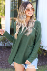 Green - soft knit oversized top