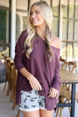 Purple - oversized off the shoulder top