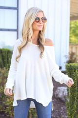 White - cute soft knit top