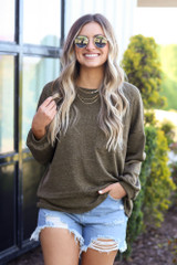 Olive - cute top with distressed denim shorts