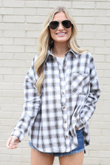 oversized plaid flannel button up