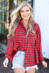 Red - cute flannel top