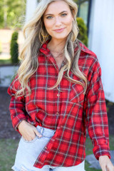 close up flannel top in red