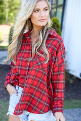 cute flannel top in red