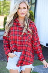 cute plaid flannel top at dress up in red