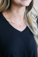 cute gold necklace with sun and moon
