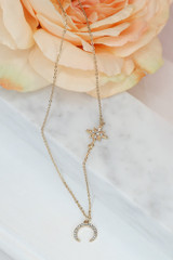 Gold - cute necklace with sun and moon