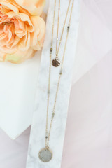 layered necklace at dress up in gold