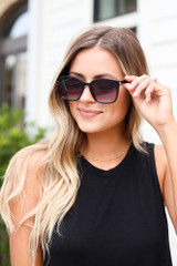 Black - cute black square sunnies