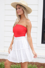 Tiered Polka Dot Skirt in White Side View