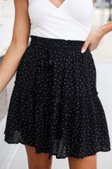 Black - Close Up of the Tiered Polka Dot Skirt