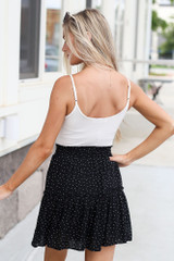 Tiered Polka Dot Skirt in Black Back View