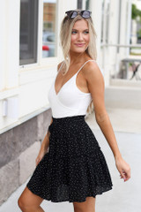 Tiered Polka Dot Skirt in Black Side View