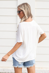 Ultra Soft V-Neck Tee in White Back View