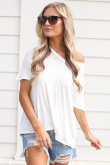 White - Model wearing the Ultra Soft V-Neck Tee with distressed denim shorts