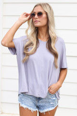 Lilac - Dress Up model wearing the Ultra Soft V-Neck Tee with distressed denim shorts