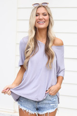 Lilac - Model wearing the Ultra Soft V-Neck Tee with shorts