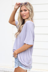 Ultra Soft V-Neck Tee in lilac Side View