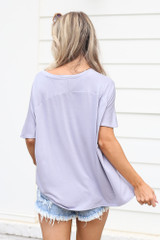 Ultra Soft V-Neck Tee in lilac Back View
