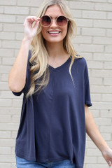 Navy - Ultra Soft V-Neck Tee Front View