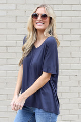 Navy - Ultra Soft V-Neck Tee from online dress boutique