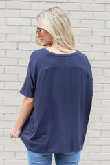 Ultra Soft V-Neck Tee in Navy Back View