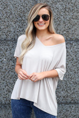 Grey - Model wearing the Ultra Soft V-Neck Tee off the shoulder
