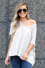Grey - Dress Up model wearing the Ultra Soft V-Neck Tee with sunglasses