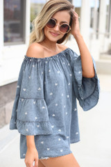 Denim - side view off the shoulder blouse with heart print