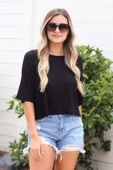 Black - soft knit t-shirt with distressed denim shorts