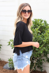 Black - cute cropped tee at dress up