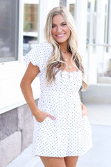 White - cute babydoll romper at dress up