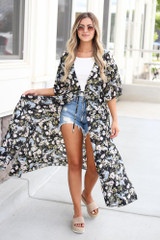 Black - floral summer kimono styled with white tank and distressed denim shorts