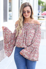 Mauve - cute floral bell sleeve top