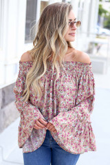 Mauve - bell sleeve top at shopdressup