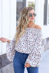 Ivory - cute off the shoulder floral blouse at dress up