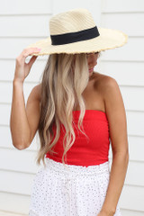 Ivory - Wide Brim Frayed Sun Hat