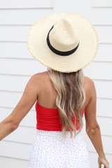 Ivory - Wide Brim Frayed Sun Hat on Model